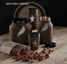 Could make these like my coffee jars with labels...but with crows and stars.