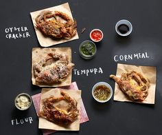Soft-Shell Crabs - Three Methods, Four Coatings, Five Sauces