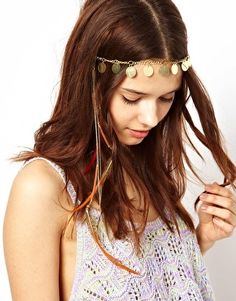 Image 1 of River Island Coin And Feather Head Band