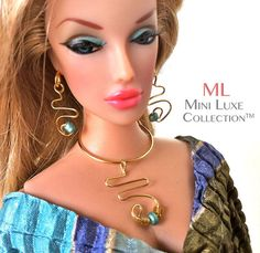 Doll Jewelry -- Gold swirl pendant and earrings accented with mint green beads, $26.00