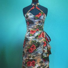 Lorelei sarong dress 1950s style reproduction custom 50s Dresses, Vintage Dresses, Summer Dresses, Formal Dresses, Vintage Tiki, Vintage Hawaiian, 1950s Style, Sarong Dress, Sarong Wrap