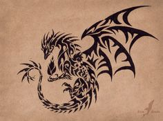 Black Raven Dragon by AlviaAlcedo on DeviantArt - Dark Wings. - Black Raven Dragon by AlviaAlcedo on DeviantArt – Dark Wings. Black pen on brown paper. Art © me - Tribal Dragon Tattoos, Chinese Dragon Tattoos, Dragon Tattoo Designs, Pisces Tattoos, Life Tattoos, Body Art Tattoos, Cool Tattoos, Tatoos, Awesome Tattoos