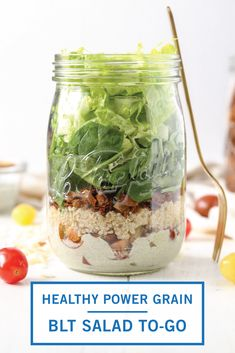 Starting the new year right with a Healthy Power Grain Vegan BLT Salad To-Go! Simple Salads, Blt Salad, Salads To Go, Ranch Dressing, Recipe Of The Day, Cherry Tomatoes, Quinoa, Schedule, Spinach