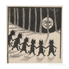 Line of Cats in Moonlight