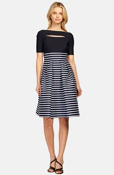 Kay Unger Mixed Media Fit & Flare Dress available at #Nordstrom