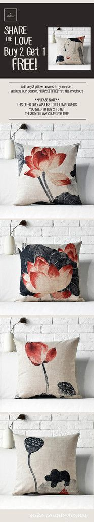 Chinoiserie Lotus Flower | Linen Throw Pillow Cover – R.atelier #Chinoiserie #HomeDecor #PillowCovers #DecorTrends #BUY2GET1 #GiftsForHer #GiftsIdeas #Decorate