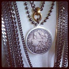 Antique Silver dollar on multichains necklace www.enriquemuthuan.com