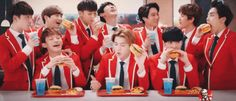 EXO arriving on earth for…CHICKEN! (Part 3) xiumim on the very right just dumping the whole thing in his mouth