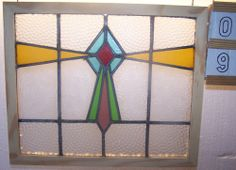 Old Vintage Leaded English stained glass window SASH!!