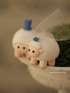 sheep Wedding Cake Topper-love sheep by kikuike on Etsy