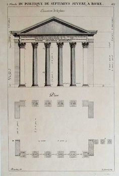 Desgodetz Architecture, front entry elevation and floorplan of Septimus Severe in Rome. Reproduction from a copperplate engraving by N. Guerard, one of the King's engravers, from the drawings by Antoine Desgodetz (1653-1728) for Les Edifices Antiques de Rome designe et mesures tres exactement (Antique Structures of Rome drawn and measured very exactly). Originally published in Paris circa 1682.