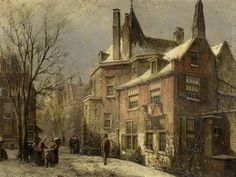 A View of a Dutch Town in Winter, oil on panel by Willem Koekkoek, Northern Netherlands, 1839-1885. Last found at auction in 2009 at Bonham's in a sale of 19th-century paintings.