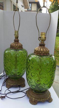 Mid Century Modern  60's Green Glass Fenton Style Retro Lamps Tam O' Shanter, Retro Lamp, Mid-century Modern, Glass Art, Lamps, Mid Century, Table Lamp, Pretty, Green