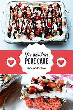 Neapolitan Poke Cake - Bottom Left of the Mitten Delicious Cake Recipes, Easy Cake Recipes, Best Dessert Recipes, Cupcake Recipes, Yummy Cakes, Easy Desserts, Sweet Recipes, Baking Recipes, Cupcake Cakes