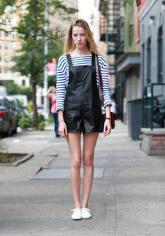 Street style: Leather overalls are a modern twist on the classic
