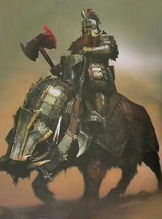 m Dwarf Fighter Hvy Armor Battle Axe Giant Boar mount