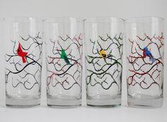 Winter Cardinal Glasses