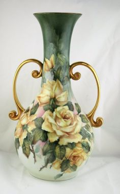 Hand Painted Porcelain Vase with Roses And 24k Gold Trim On Neck And Handles by Margaret Surber