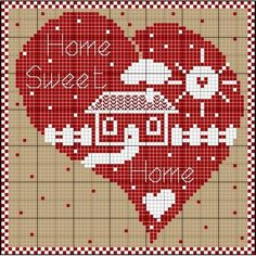 Home sweet home cross stitch chart Wedding Cross Stitch Patterns, Counted Cross Stitch Patterns, Cross Stitch Designs, Cross Stitch Embroidery, Embroidery Patterns, Cross Stitch House, Cross Stitch Heart, Cross Stitch Pictures, Theme Noel
