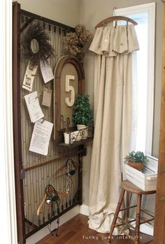 Press - Funky Junk Interiors. (This is sweet for a  mudroom, eclectic yet cozy catch all.)