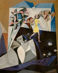 john craxton(1922–2009), girl in a foreshore garden, 1948. oil on canvas, 76.5 x 61.5 cm. government art collection, uk http://www.bbc.co.uk/arts/yourpaintings/paintings/girl-in-a-foreshore-garden-27994