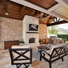 Beautiful #outdoorfireplace complete with #outdoorkitchen.  Built by Backyard Retreats (281) 485-8483