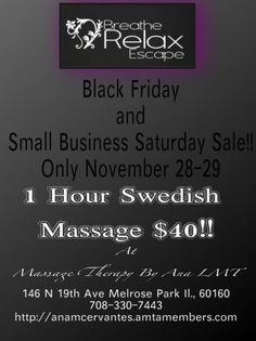 Black Friday and Small Business Saturday Sale! November 28-29, 2014, Melrose Park, Illinois