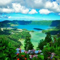 The twin lakes at Sete Cidades (seven cities, named after the 7 cities of Atlantis). Sao Miguel Azores.