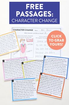 How can we analyze our main characters and their thoughts, actions, feelings? These FREE character change passages are perfect for first and second grade students to use text evidence to support how and WHY a character might change within a story. Head over to the blog to grab your free cards!