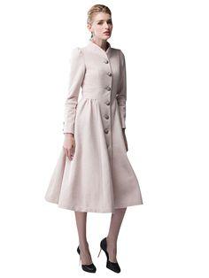 Solid Single Breasted Vintage Design Long Wool Coat