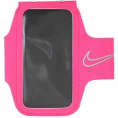 Nike Women Smartphone Holder Armband For Running (285 EGP) ❤ liked on Polyvore featuring accessories, tech accessories, pink, water resistant headphones, pink headphones, transparent smartphone, nike and water resistant smartphones