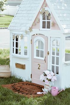 Costco Playhouse Hack: How to Transform an Outdoor Cedar Playhouse with Paint! – The Pink Dream Costco Playhouse Hack Costco Playhouse, Cedar Playhouse, Girls Playhouse, Backyard Playhouse, Build A Playhouse, Backyard Sheds, Outdoor Playhouses, Playhouse Ideas, Childrens Playhouse