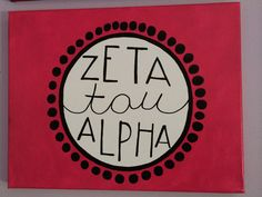 Zeta Tau Alpha ZTA Pink and Black canvas by MerrittsCrafts on Etsy, $20.00