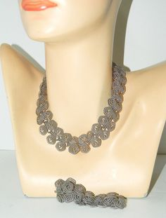 Vtg Bamberger's New Jersey Silver Wire Demi Parure Necklace Bracelet Earrings #Bambergers