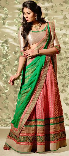 154663: Peach & rusted tones can make year 2015 stylish, says the Indian designers. Check out one such bridal #lehenga here.  #bridalwear #indianwedding #onlineshopping #rustedtones #colorblock #indianfashion #weddingcouture #sale #bridetobe #partywear