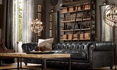 rustic chesterfield couches | Restoration Hardware Living Room