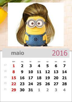 calendário dos minions mês de maio de 2016