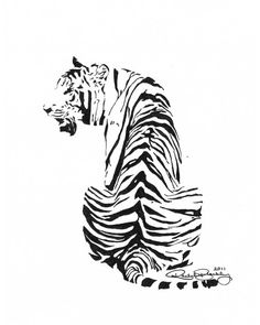 Sitting Tiger - Ink Sketch, Ink Drawing, Pen and Ink, Black and White, Fine Art…