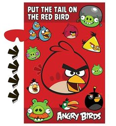 """Angry Birds Birthday Party \""""Pin the Tail\"""" Game"""