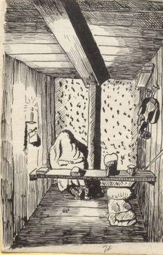 [Quartier von innen], Tuschezeichnung: Karg eingerichteter Raum, der nur von einer Kerze erhellt wird. In der linken Bildecke sitzt eine Person mit einem Mantel über dem Kopf. Auf der Rückseite des Bildes steht, dass sich der Gezeichnete nicht zeichnen lassen wollte und deshalb den Mantel über seinen Kopf zog. Bestand 192-31, Nr. 34.