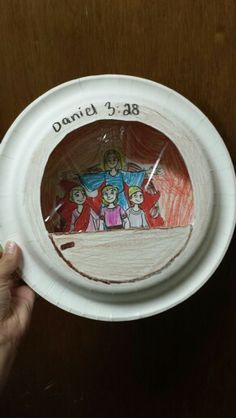Sunday school craft we did for today's lesson over Shadrach, Meshach, and Abednego at Mt. Calvary Missionary Baptist Church. 2 paper plates, and cling wrap for the window.