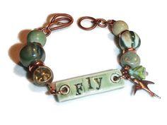 Ceramic Bracelet. Fly Message. Ceramic and Copper Bracelet. Boho. Organic by riversedgecreations. Explore more products on http://riversedgecreations.etsy.com