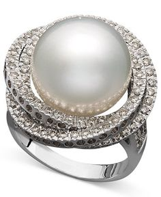 14k White Gold Ring, Cultured South Sea Pearl (13mm) and Diamond (1 ct. t.w.) Ring - Rings - Jewelry & Watches - Macy's