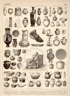 Ancient Pottery, Antique Print, 1897 Lithograph, Ceramics Print, Pottery Poster, Greek, Egyptian, Assyrian, Roman, Etruscan, Vases, Ceramic