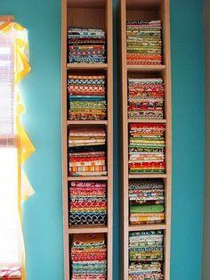 CD/DVD shelves as fabric storage!