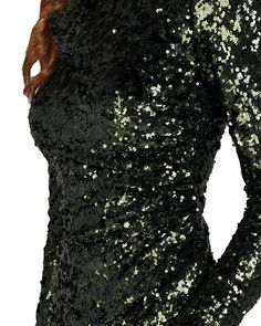 EG1409 Long-sleeved Sequin Ruched Evening Gown by Badgley Mischka