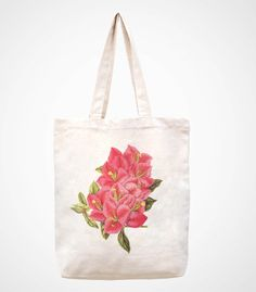 flowerhandmade bag/canvas bag/tote bag/canvas tote by canvasanni, $11.90
