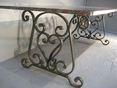 iron bases for dining tables | 1900's French Wrought Iron Base with Marble Top Dining Table image 4
