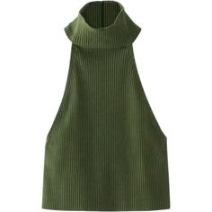 High Neck Ribbed Crop Top Army Green (€17) ❤ liked on Polyvore featuring tops, sweaters, high neck crop top, cropped sweater, crop top, military green sweater and olive crop top
