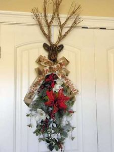 swags wreaths christmas | ... Holiday Christmas Floral & Pine Grapevine Deer Swag Wreath Arrangement